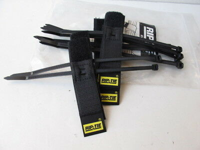"Rip-Tie Hook and Loop Cable Hangers - 3"" Black - Bag of (10) - S-03-010"