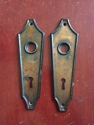 ANTIQUE Pair Of  VICTORIAN DOOR KNOB  MATCHING Art Deco Backplates