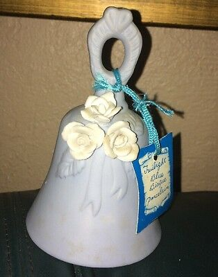 """FLAMBRO Twilight Wedgewood Blue Bisque Porcelain Bell White Roses 5"""" X 3"""" Label"""