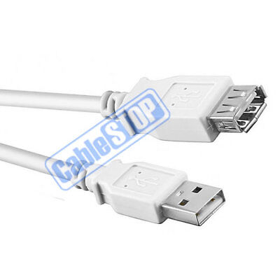 1.8 Metre WHITE USB EXTENSION Male to Female PC Laptop Printer Computer Cable 2m