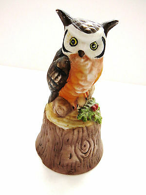 Hoot OWL Bell by Enesco Great Horned Owl Bell Owl Collector Ceramic 1980s EUC