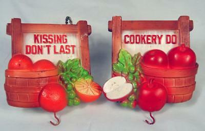 Vintage Chalkware Kitchen Plaques Cup or Key Holders