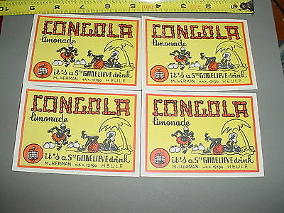 4 Original Vintage Drink Labels For Congola Limonade