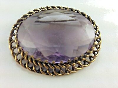 Antique German Large Glass Amethyst Stone with Gold Brass Twist Holder Brooch