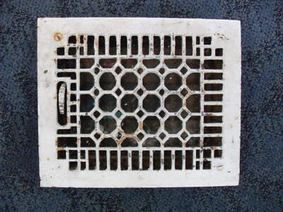 Vintage Cast Iron Heat Grate Vent Register Top 9 3/4 X 11 3/4 ART DECO #1917