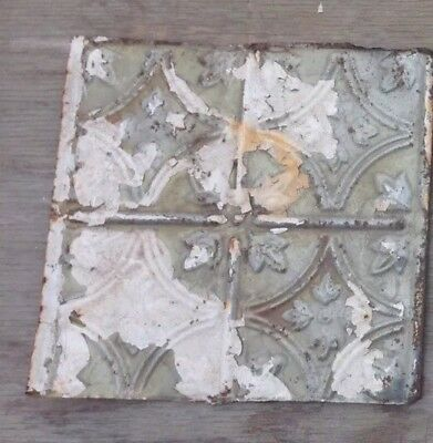 "1890's 12"" x 12"" Antique Tin Ceiling Tile Reclaimed Metal"