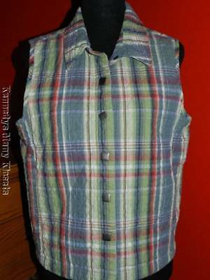 Women's Christopher & Banks Green & Red Plaid Quilted VEST Excellent Size LARGE