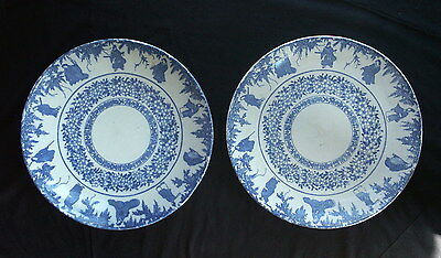 Pair of Very Large Antique Japanese Porcelain Transferware Chargers