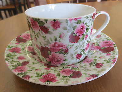 Victorian Rose Chintz All Over Pink & Red Cabbage Teacup & Saucer Set