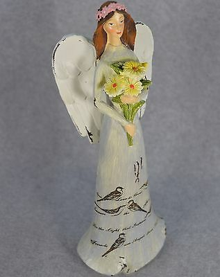 "Shabby Chic 10"" Garden Angel in Neutral Light Gray Dress Holding Yellow Daisies"