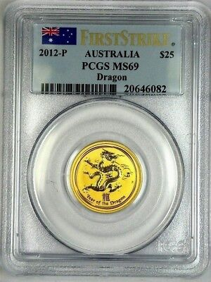 PCGS, GOLD 1/4 oz. 2012 Australia YEAR of the DRAGON, MS69 FIRST STRIKE, $25