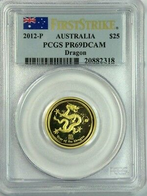 PCGS GOLD 1/4 oz. 2012-P Australia YEAR of the DRAGON $25, PR69DCAM FIRST STRIKE
