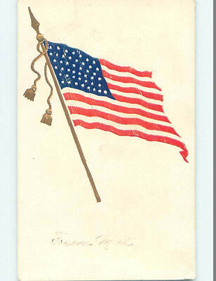 Pre-1907 patriotic VERY EARLY VIEW OF LARGE USA AMERICAN FLAG HJ2803