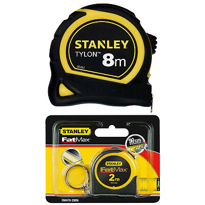Quality Stanley Tylon Pocket or Belt Tape Measure 8m 26ft & Fatmax 2m Keyring