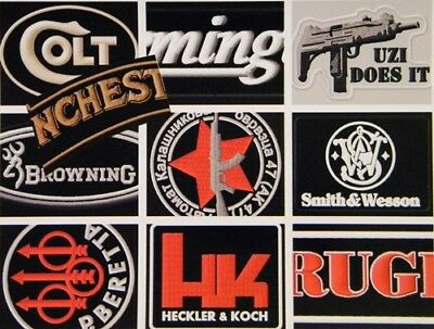 Embroidered Iron Or Sew On Patches Gunmakers Rifles Pistols Weapons Machine Guns