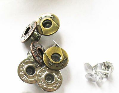 Jeans Stud buttons 17mm mix Silver, Antique Sets 20, 30 or 50
