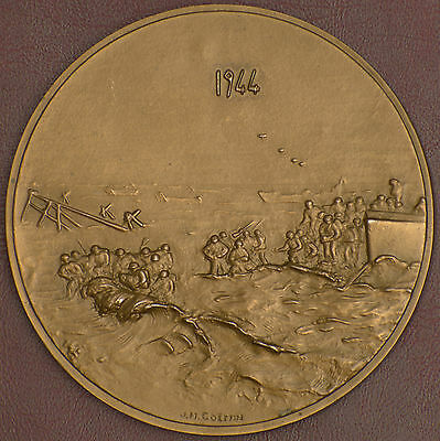 World War II 1944 Large French Bronze medal by J.H. COEFFIN