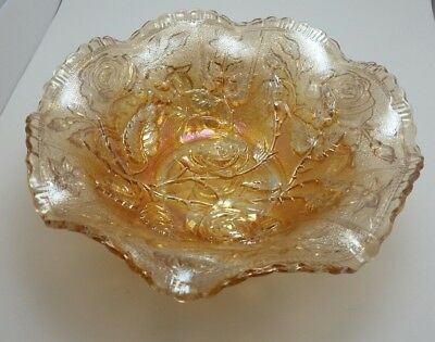 Imperial Glass Marigold Carnival Bowl with Open Rose Pattern and Ruffled Rim