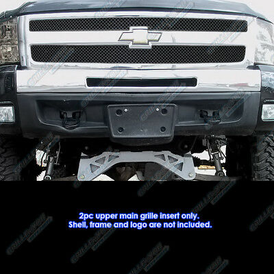 Fits 2007-2013 Chevy Silverado 1500 Stainless Steel Black X-Mesh Grille Inserts