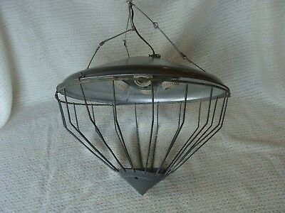 Vintage Industrial Farm Ceiling Light Cage Fixture Salvage Lamp Primitive Rustic