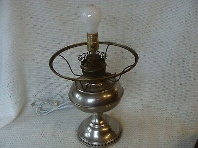 ANTIQUE OIL LAMP NICKEL BRASS CENTER DRAFT PERFECTION w SHADE RING CONVERTED