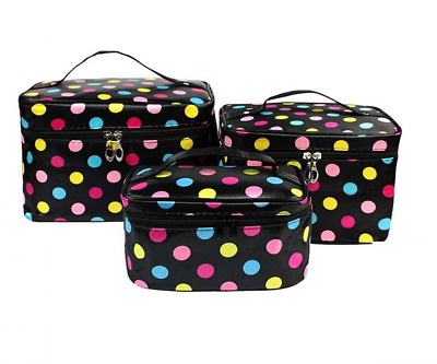 HOYOFO 3 Pcs/Set Travel Makeup Storage Bags Polka Dots Pattern Cosmetic and Toil