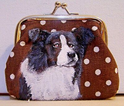 hand painted Border Collie dog on canvas kiss lock coin purse gift