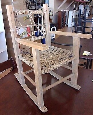 Vintage Antique Rush Woven Child's Doll Wood Rocker Rocking Chair