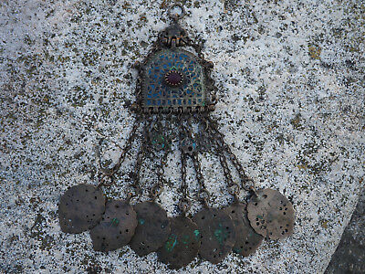 Antique 1800 Ottoman Silver Greece Macedonia Necklace Enamel Corneol Rare Large