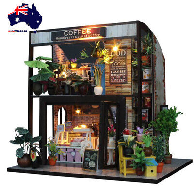 AU DIY Wooden Toy Doll House Miniature Kit Caravan Dollhouse Music LED Lights