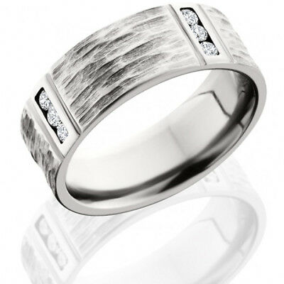 Cobalt Chrome 8mm Flat Band with Segmented Pattern and Twelve .03ct Channel Set