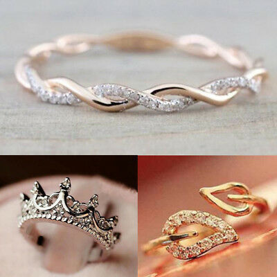 Fashion Princess Women Silver Rhinestone Crown Heart Cross Ring Size 5 6 7 8