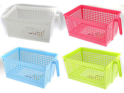 48 rectangle storage basket with handle 31x19x14cm 4 assorted bulk wholesale lot