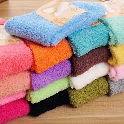 Home Women Girls Soft Bed Floor Socks Fluffy Warm Winter Pure Color