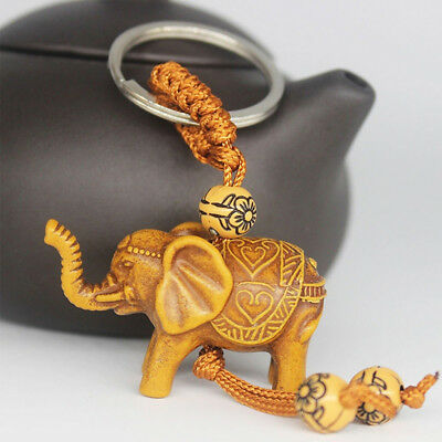 2Pcs Lucky Elephant Carving Pendant Keychain Key Ring Evil Defends Gift Gracious