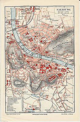 c. 1890+ AUSTRIA SALZBURG CITY PLAN  Antique Map