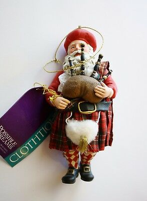 FITZ & FLOYD Glass Scottish SANTA Christmas RETIRED ORNAMENT