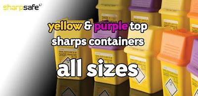 Sharpsafe sharps containers | All Sizes | Yellow & Purple Lids