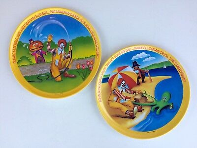 Vintage New 1977 McDonald's 'May Flowers' & 'Hot Sumner' 10 Inch Melamine Plates