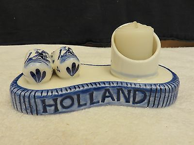 Delft Candle Holder # 9827 Hand Crafted Blue White Crackle Glaze Dutch Shoes