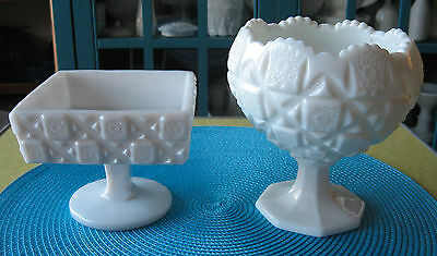Pair of Compotes from WESTMORELAND in the OLD QUILT pattern - HEAVY MILK GLASS