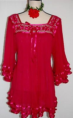 70's Mexican Cotton Gauze Blouse Retro Vintage Inspired Assorted Colors Hippie