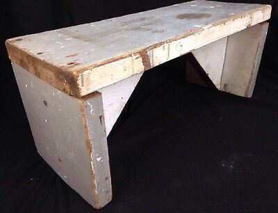 "Antique Bench Stool Vintage Primitive Country 24"" Wood Old Paint Shabby Fixer Up"