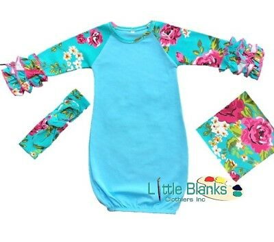 Blue Infant Floral Ruffle Raglan Gown & Headband, Icing Gown, US Seller, Blanks
