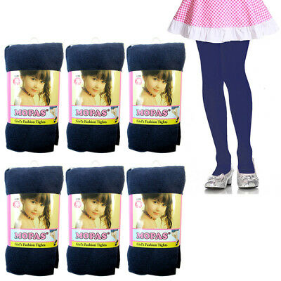 6 Pair Girls Tights Footed Dance Stockings Pantyhose Ballet XL Size 11-14 Navy