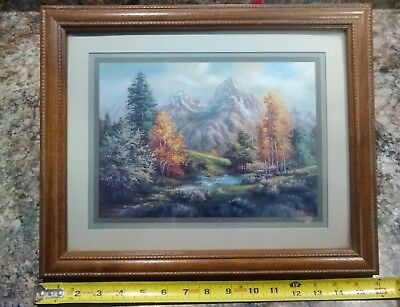 """Lee K Parkinson Framed Print Mountain Stream and Trees 16"""" lenght by 13"""" Width"""