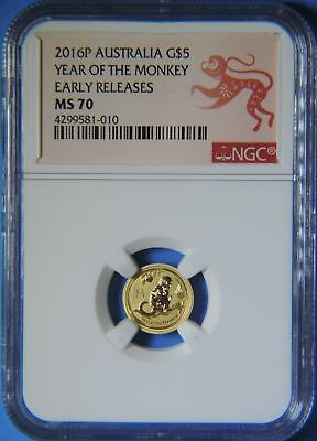 2016 Australia Year of the Monkey 1/20 oz $5 Gold Early Releases Coin NGC MS70