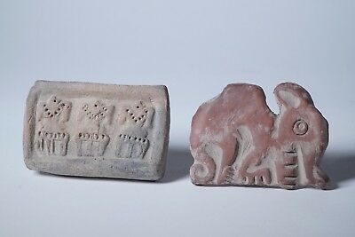2 Pottery Stamps Pre-Columbian Antiquities Ancient Artifacts Ecuador Mayan