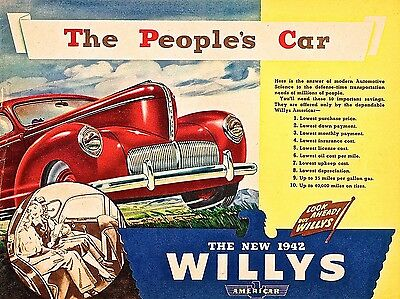 1942 Willy's Car,Retro metal Aluminium Sign vintage Car Garage man cave shed 450