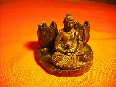 Nice Antique Bronze Seated Buddha Candle Holder Vintage Piece